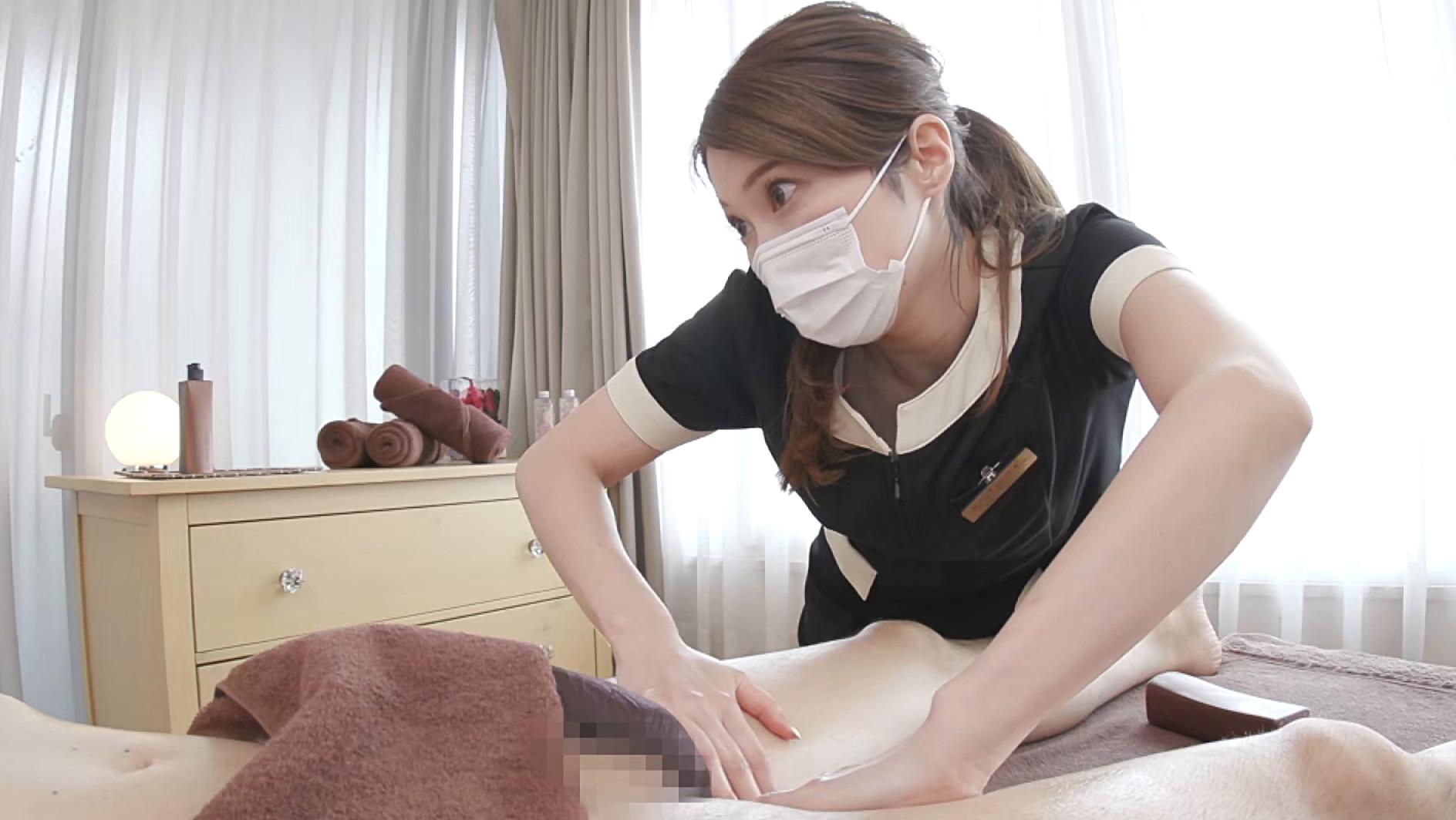 愛嬌溢れる美人エステティシャン由美香さんの初めてのチ〇ポ観察&身悶えるような手コキニックで即射1
