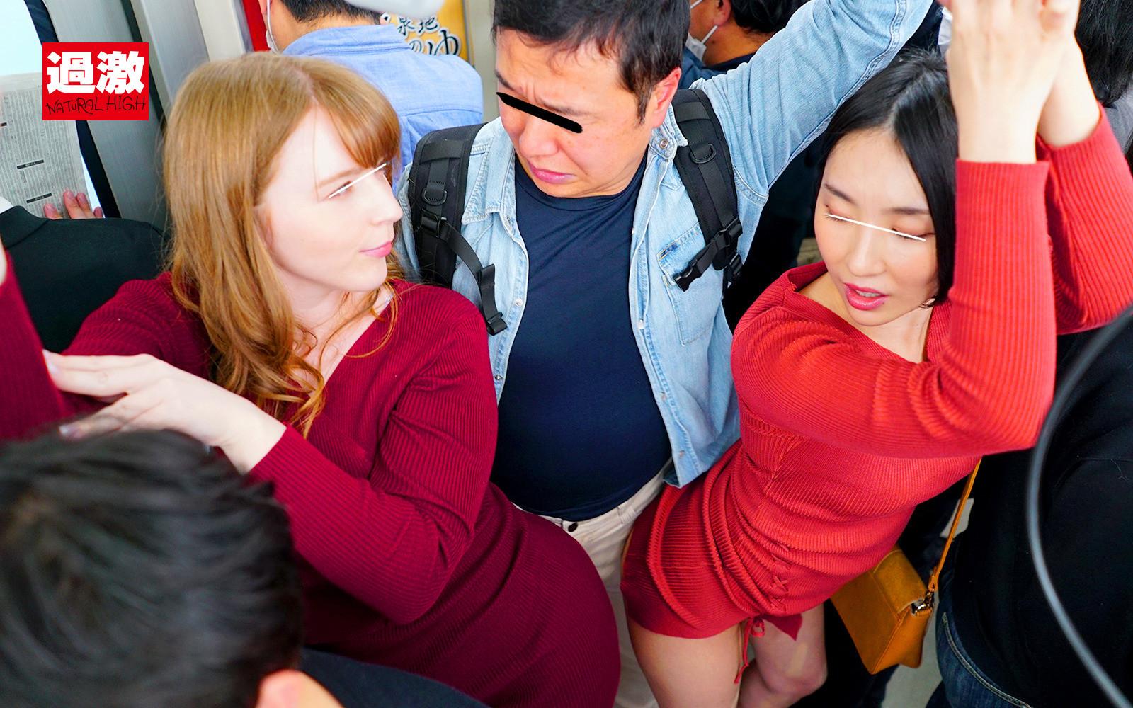 満員電車でムチムチニット痴女2人のデカ尻に挟まれ勃起したち〇ぽを笑顔で射精させられた 画像2